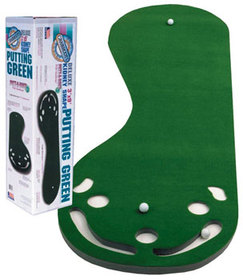 3 x 9 indoor putting green with three flags and sand traps to catch missed shots.  Great gift idea!